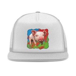 """Кепка тракер с сеткой """"Симпатичный свин"""" - свинка, свинья, хрюшка, поросёнок, хряк"""