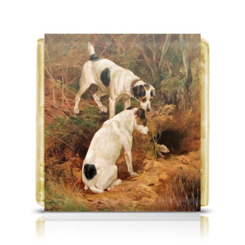 Шоколадка 35х35 Printio 2018 год желтой земляной собаки картины постеры гобелены панно картины в квартиру картина бесконечность линий 35х35 см