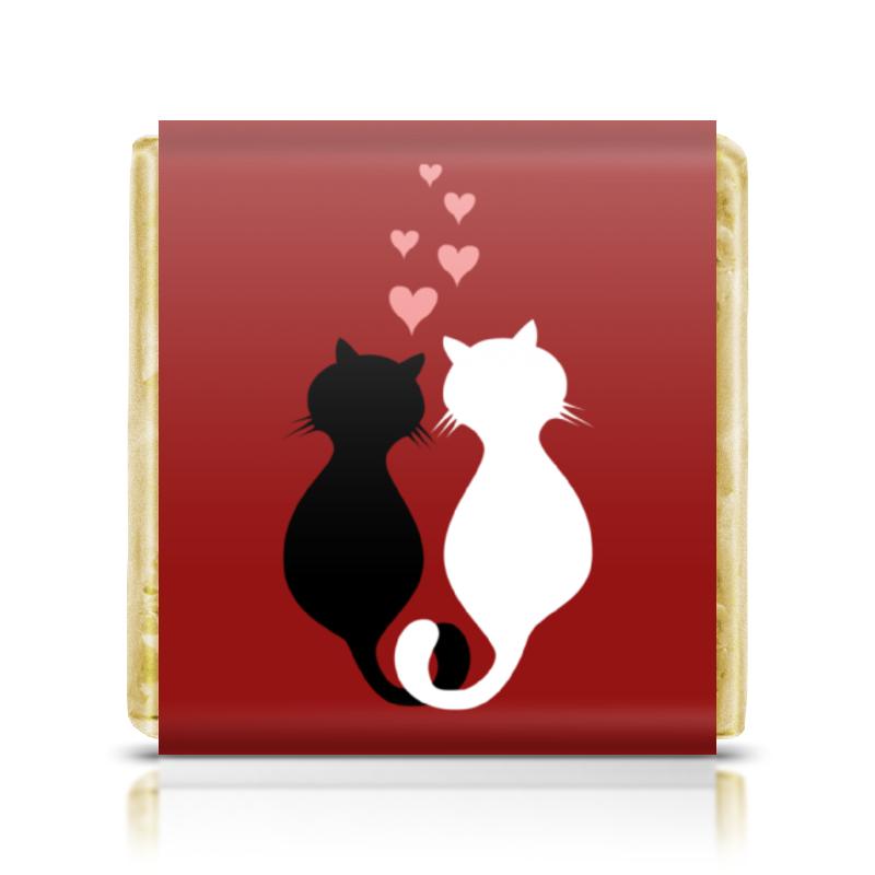 Шоколадка 35х35 Printio Кот и кошка цены онлайн