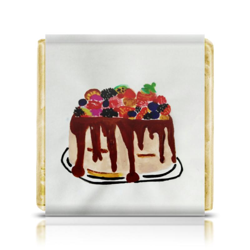 Шоколадка 35х35 Printio Тортик райская птица молочный шоколад 38
