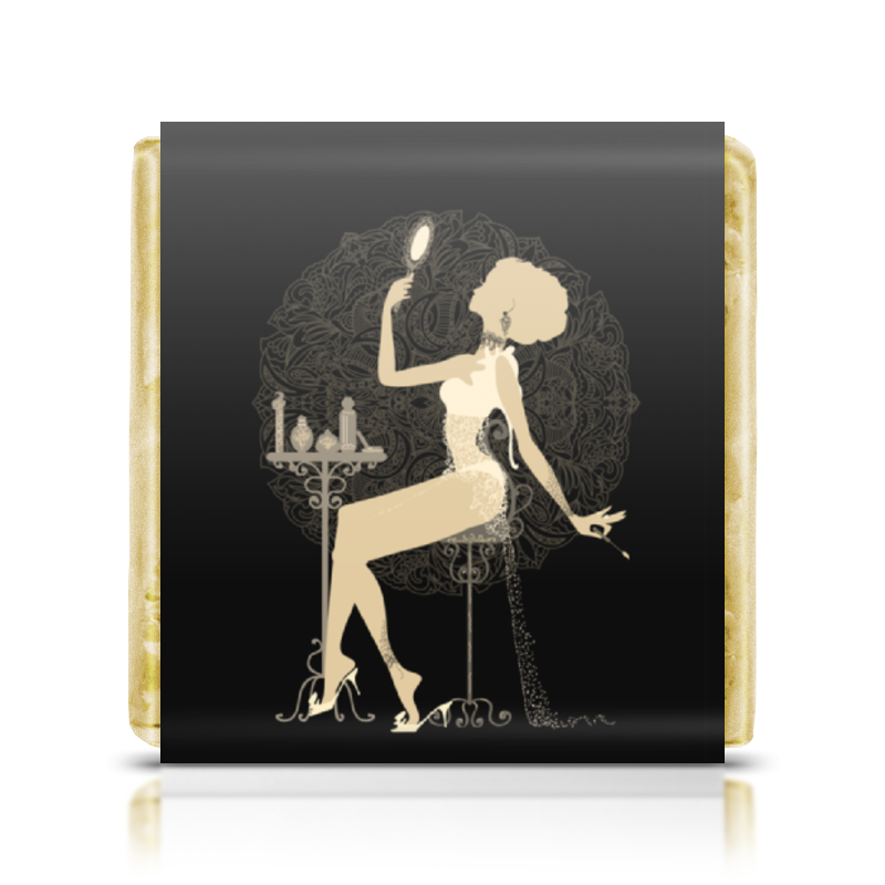 Шоколадка 35х35 Printio Красивая девушка с зеркалом  силуэт eszadesign шоколадка 35х35 printio красивая девушка с чашкой чая силуэт eszadesign