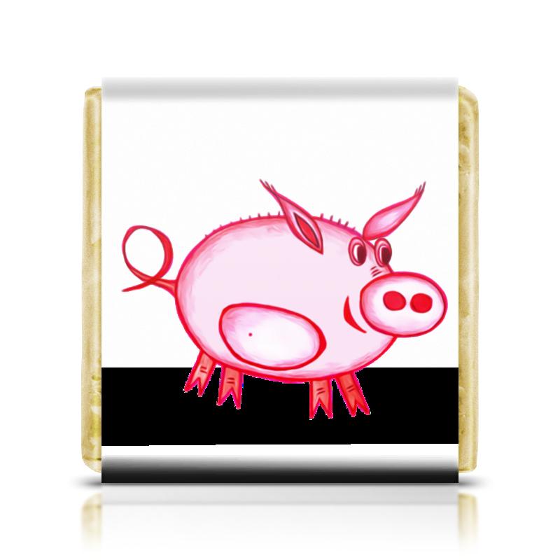 Шоколадка 3,5×3,5 см Printio Розовый поросенок cansnow золотистый розовый