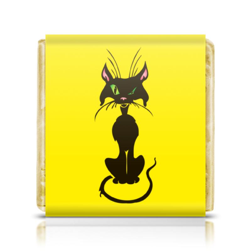 Шоколадка 35х35 Printio Черный кот homegeek белый черный