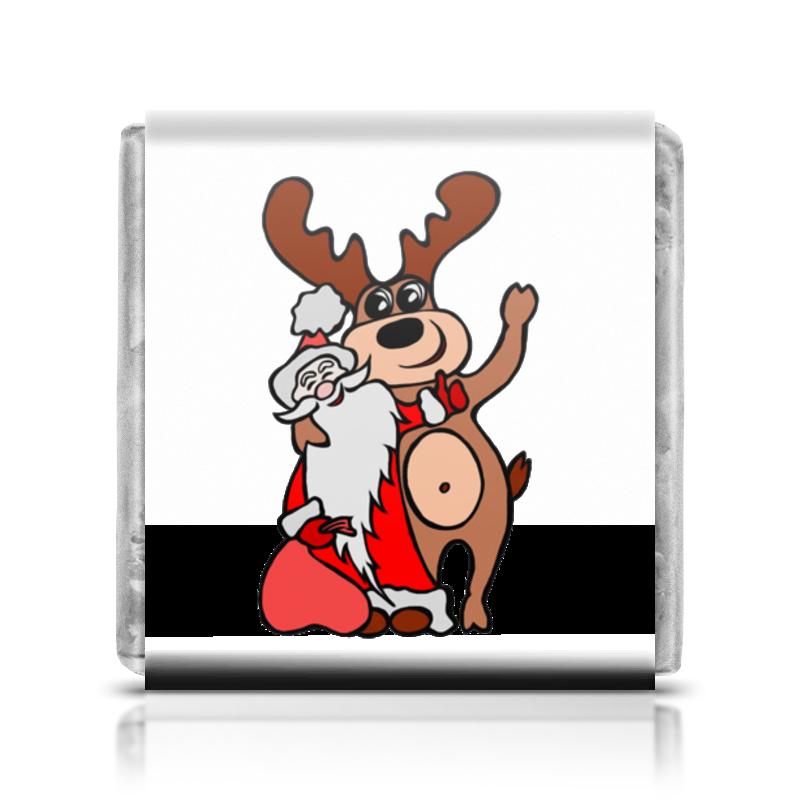 Шоколадка 3,5×3,5 см Printio Дед мороз с оленем
