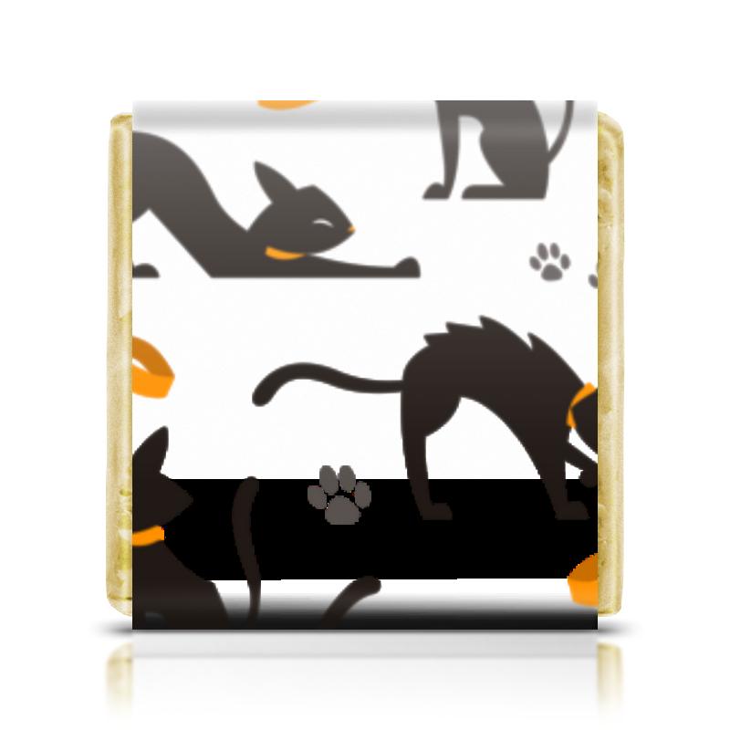 Шоколадка 35х35 Printio Чёрные кошки чёрные бушлаты цифровая версия
