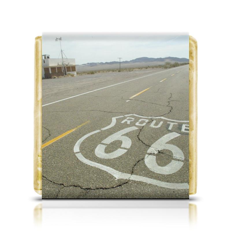Шоколадка 3,5×3,5 см Printio Шоссе 66 скейтборд щелковское шоссе