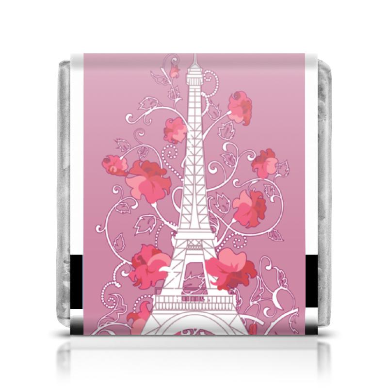 Шоколадка 35х35 Printio Эйфелева башня среди роз (eszadesign) шоколадка 35х35 printio красивая девушка с чашкой чая силуэт eszadesign
