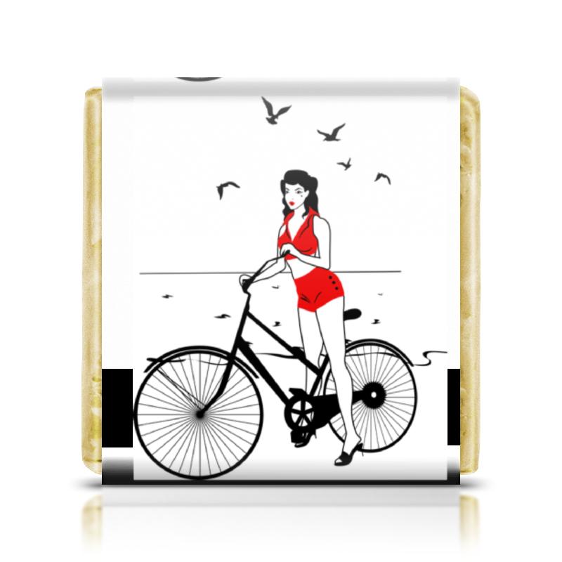 Шоколадка 3,5×3,5 см Printio Девушка на велосипеде. пин ап (eszadesign) сувенир фляжка подарочная пин ап 8oz