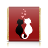 """Шоколадка 35х35 """"Кот и кошка"""" - любовь, кот, кошка, пара, сердечки"""