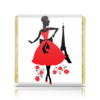 "Шоколадка 35х35 ""Красивая девушка в Париже"" - силуэт, ретро, мода, париж, эйфелева башня"