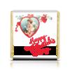 """Шоколадка 3,5×3,5 см """"Happy Valentine's Day! """" - ангел, сердца, 14 февраля, незабудки, ретро-открытка"""