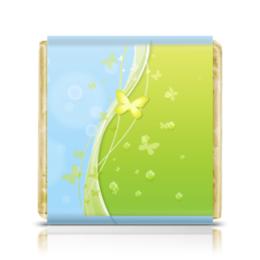 """Шоколадка 35х35 """"Летний мотив"""" - бабочки, лето, небо, трава, мыльные пузыри"""