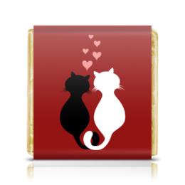 """Шоколадка 35х35 """"Кот и кошка"""" - кот, кошка, сердечки, пара, любовь"""