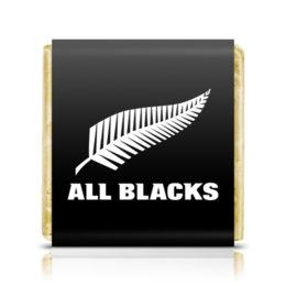 "Шоколадка 3,5×3,5 см ""All Blacks"" - спорт, новая зеландия"