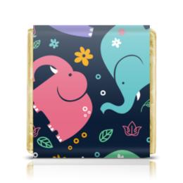"""Шоколадка 35х35 """"Слоники"""" - животные, стиль, орнамент, слоны, детский рисунок"""