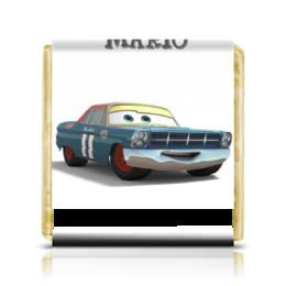"Шоколадка 3,5×3,5 см ""Mario"" - тачки, гонки, мульт, mario, наскар"