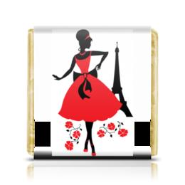 "Шоколадка 3,5×3,5 см ""Красивая девушка в Париже"" - силуэт, ретро, мода, париж, эйфелева башня"