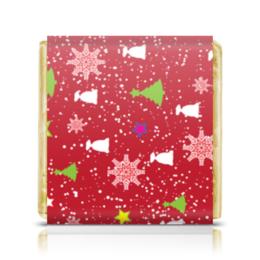 """Шоколадка 3,5×3,5 см """"Happy New Year (Счастливый Новый Год)"""" - happy new year, подарок, дед мороз, елка, merry cristmas"""