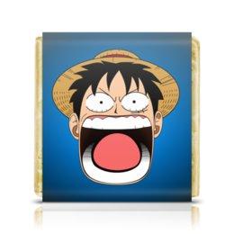 "Шоколадка 3,5×3,5 см ""Луффи - Чё??!!"" - аниме, шляпа, one piece, луффи, монки ди луффи"