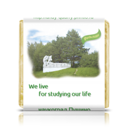 """Шоколадка 3,5×3,5 см """"Сувениры города Пущино"""" - юмор, пущино-на-оке, souvenirs-in-pu, наукоград, девиз учёных"""