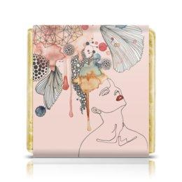 """Шоколадка 3,5×3,5 см """"Абстрактная акварель"""" - абстракция, акварель, пастель, шебби шик, пудровый розовый"""