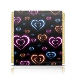 """Шоколадка 3,5×3,5 см """"Неоновые сердца, с выбором цвета фона."""" - сердце, узор, сердца, сердечки, неон"""