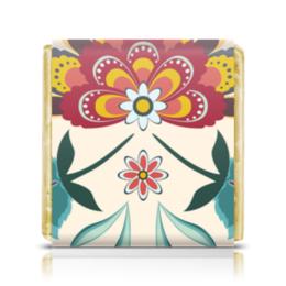 """Шоколадка 3,5×3,5 см """"Цветочный"""" - цветы, узор, стиль, рисунок, цветочный"""