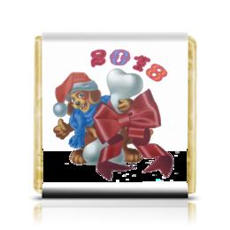 """Шоколадка 35х35 """"Собачье счастье"""" - новый год, щенок, подарок, 2018, год собаки"""