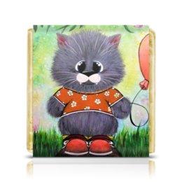 """Шоколадка 3,5×3,5 см """"Кот с шариком"""" - любовь, кот, лето, шарик, iloveyou"""