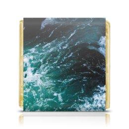 "Шоколадка 3,5×3,5 см ""Бескрайнее море"" - море, sea, океан, waves, surge"