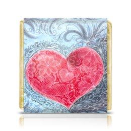 """Шоколадка 3,5×3,5 см """"Для любящих сердец. Любовь."""" - сердце, любовь, признание, горячее сердце, объяснение в любви"""