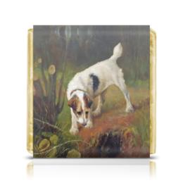 """Шоколадка 3,5×3,5 см """"2018 год Желтой Земляной Собаки"""" - картина, собака, живопись, 2018, артур вардль"""