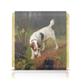 "Шоколадка 35х35 ""2018 год Желтой Земляной Собаки"" - картина, собака, живопись, 2018, артур вардль"