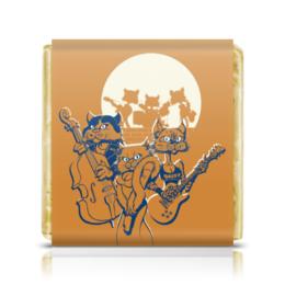 """Шоколадка 3,5×3,5 см """"Кошачий концерт"""" - музыка, группа, кошки, джаз, концерт"""