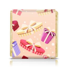 """Шоколадка 35х35 """"Подарочная"""" - арт, стиль, бант, подарок, рсиунок"""