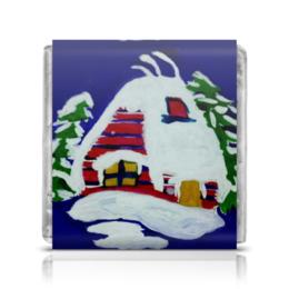 """Шоколадка 35х35 """"Дом в лесу"""" - новый год, зима, дом, снег"""