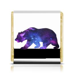 "Шоколадка 35х35 ""Space animals"" - space, bear, медведь, космос, астрономия"