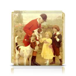 """Шоколадка 3,5×3,5 см """"Собаки егеря (Arthur John Elsley)"""" - новый год, картина, собака, день матери, артур элсли"""