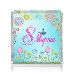 """Шоколадка 3,5×3,5 см """"8 марта"""" - праздник, девушка, цветы, 8 марта"""