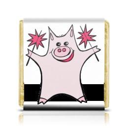 """Шоколадка 3,5×3,5 см """"Розовый поросёнок с бенгальскими огнями"""" - арт, счастье, свин, розовый поросенок, бенгальский огонь"""