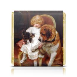 """Шоколадка 3,5×3,5 см """"День Матери и Новый год"""" - новый год, картина, собака, день матери, артур элсли"""