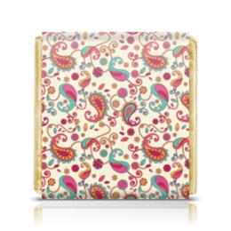 """Шоколадка 3,5×3,5 см """"Индийский узор"""" - узор, стиль, рисунок, орнамент, индийский"""