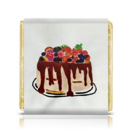 """Шоколадка 3,5×3,5 см """"Тортик"""" - праздник, день рождения, тортик"""