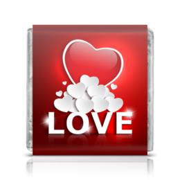 """Шоколадка 3,5×3,5 см """"Сердца"""" - сердце, любовь"""