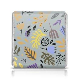 """Шоколадка 3,5×3,5 см """"Яркий абстрактный цветочный узор"""" - рисунок, графика, абстракция, яркий, от руки"""