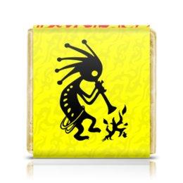 """Шоколадка 3,5×3,5 см """"Кокопелли"""" - знаки, индейцы, дух, изобилие, плодородие"""