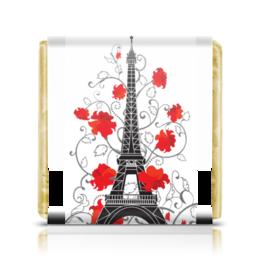 """Шоколадка 3,5×3,5 см """"Эйфелева башня среди роз (ESZAdesign)"""" - силуэт, цветы, рисунок, париж, эйфелева башня"""