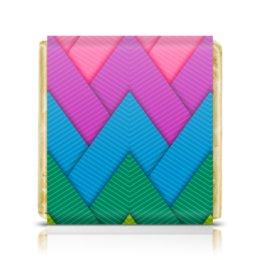 """Шоколадка 3,5×3,5 см """"Papercraft style"""" - полосы, абстракция, геометрия, линии, papercraft"""