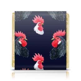 """Шоколадка 35х35 """"Петух. Символ 2017 года"""" - подарок, рождество, символ года, петух, rooster"""