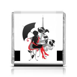 """Шоколадка 3,5×3,5 см """"Красивая девушка под зонтиком. Силуэт (ESZAdesign)"""" - арт, мода, красотка, париж, эйфелева башня"""